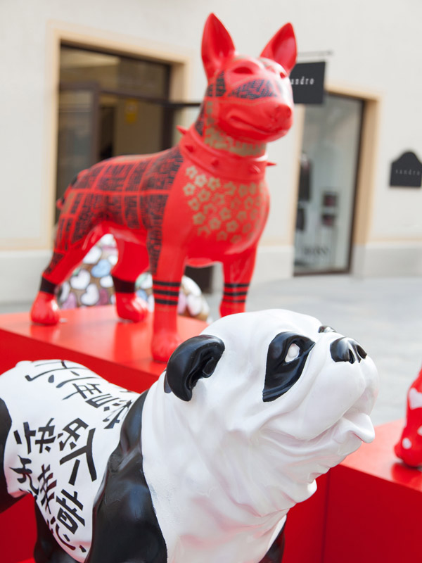 e7cc10cfa La Roca Village  LoveTheDogArt sculptures are a dialogue between East and  West.