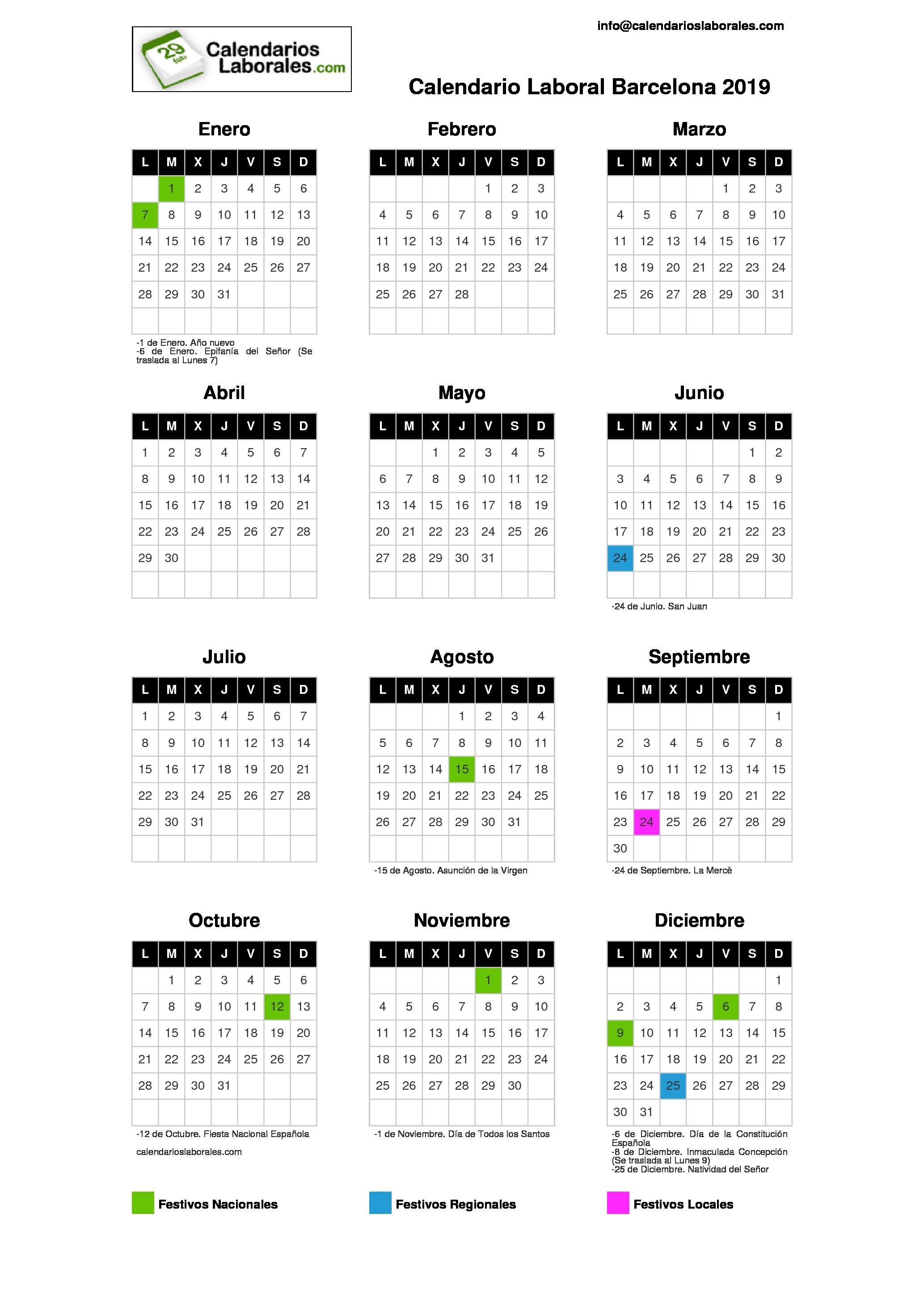 Calendario Santos.Calendario Laboral Barcelona 2019 La Rambla Barcelona